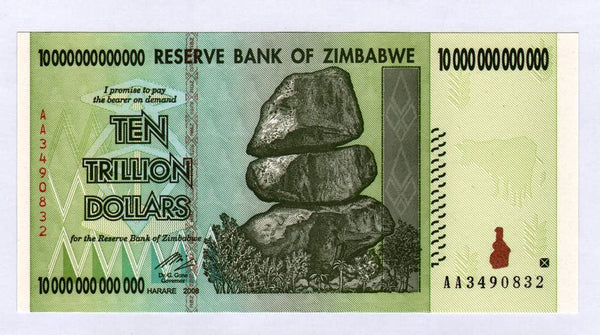 Zimbabwe 10 Trillion Dollar Note