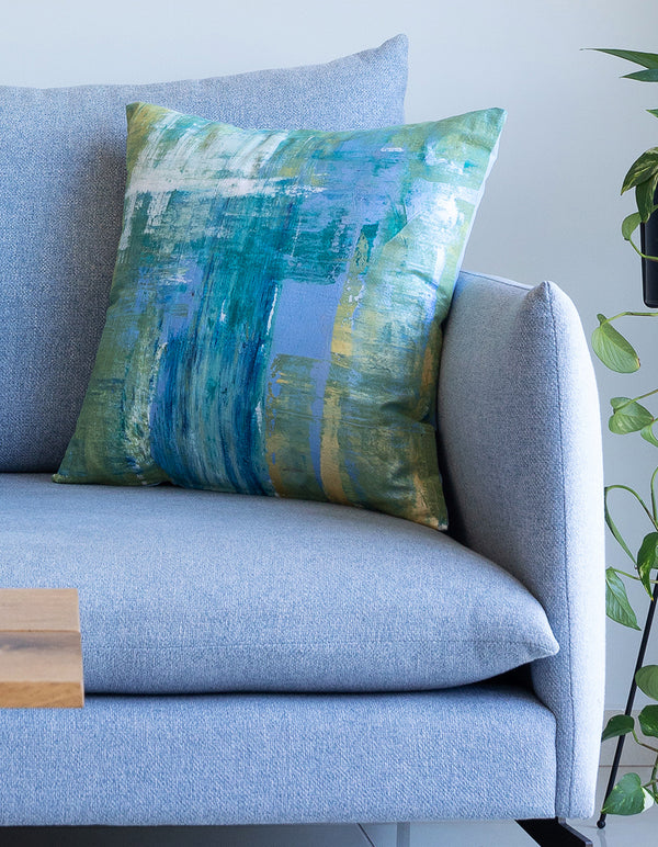 Sky blue abstract single pillow