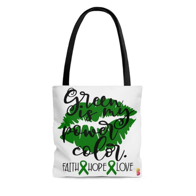 Green Is My Power Color Gallbladder Bile Duct Cancer Awareness Tote Bag - Sappy ~Inspo~ Tees