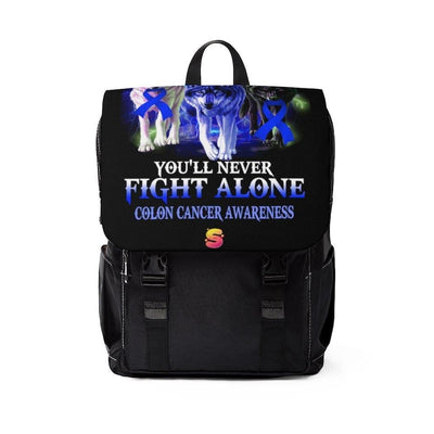 In This Family You'll Never Fight Alone Colon Cancer Awareness Unisex Casual Shoulder Backpack - Sappy ~Inspo~ Tees