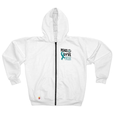 Peace Love Cure Cervical Cancer Awareness Unisex Zip Hoodie - Sappy ~Inspo~ Tees