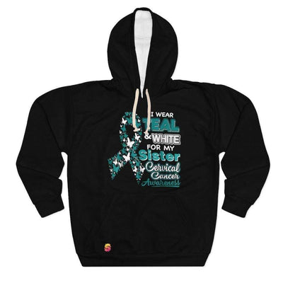 I Wear Teal And White For My Sister Cervical Cancer Unisex Pullover Hoodie - Sappy ~Inspo~ Tees