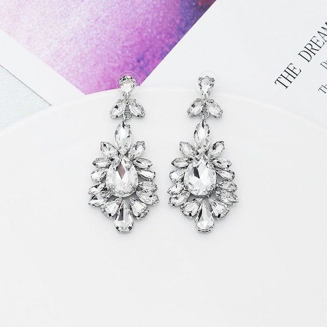 QYY Newest Austrian Crystal Wedding Earrings Bridal Water Drop Earring  Long Drop Earrings Fashion Jewelry ERS-J3008