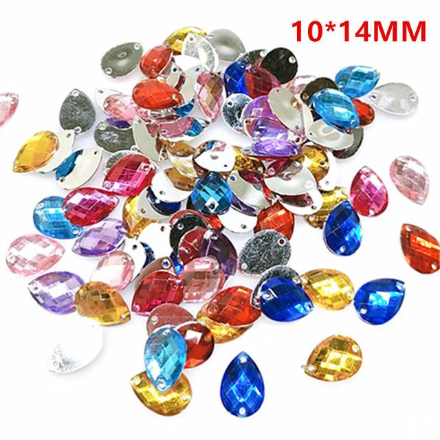 suoja 100/300pcs/lot mix color Acrylic Crystal Face Flat back Rhinestones Shiny Beads DIY Nail Art Jewelry Decoration