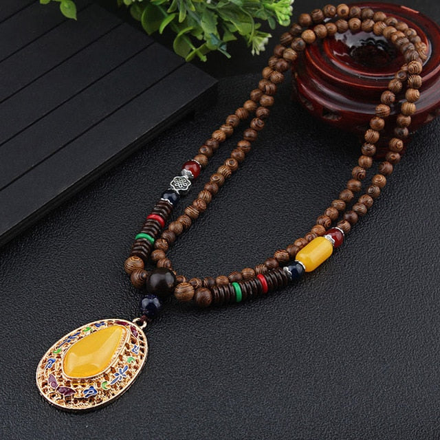 Nepalese Resin Water Drop Peacock Pendants Bohemian Necklace Men Women Wood Bead Necklaces Long Chain Ethnic Jewelry Accessories