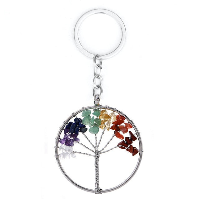7 Chakra Quartz Natural Stone Tree of Life pendulum Pendant Necklace for Women  Healing Crystal Necklaces Pendants Reiki Jewelry