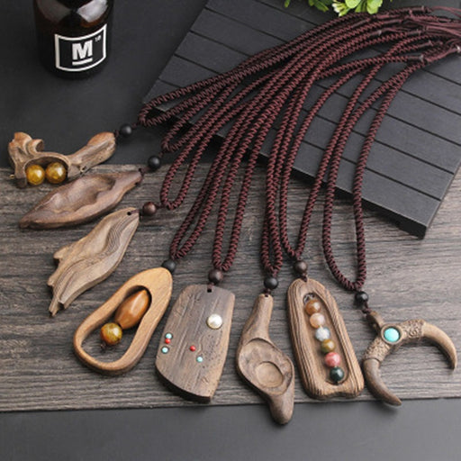 2020 New Women Men Necklace Handmade Vintage Resin Wood Statement Necklaces & Pendants Long Rope Wooden Necklace Jewelry Gifts
