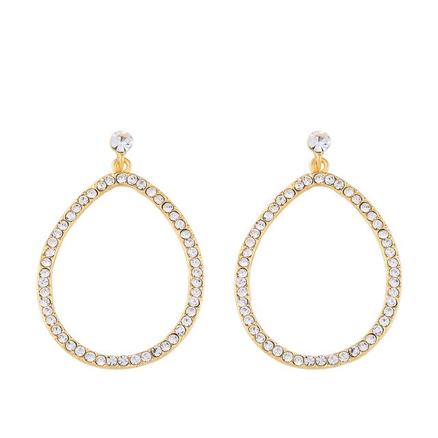 OCESRIO Black Earring For Woman Rhinestone Small Hoop Earrings Teardrop Crystal Circle Women's Hanging  Jewelry Pendants ers-p02