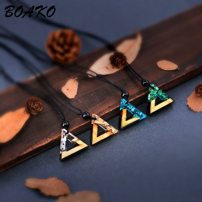 BOAKO Triangle Resin Wood Pendant Necklace Handmade Resin Rope Chain Choker Necklace For Women Men Charm Jewelry collar mujer