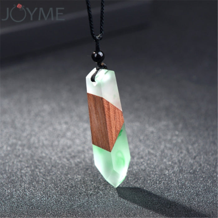 Fashion Natural Wooden Men Necklace Handmade Wood Resin Necklace Vintage Statement Necklaces & Pendants Long Rope Jewelry Gifts