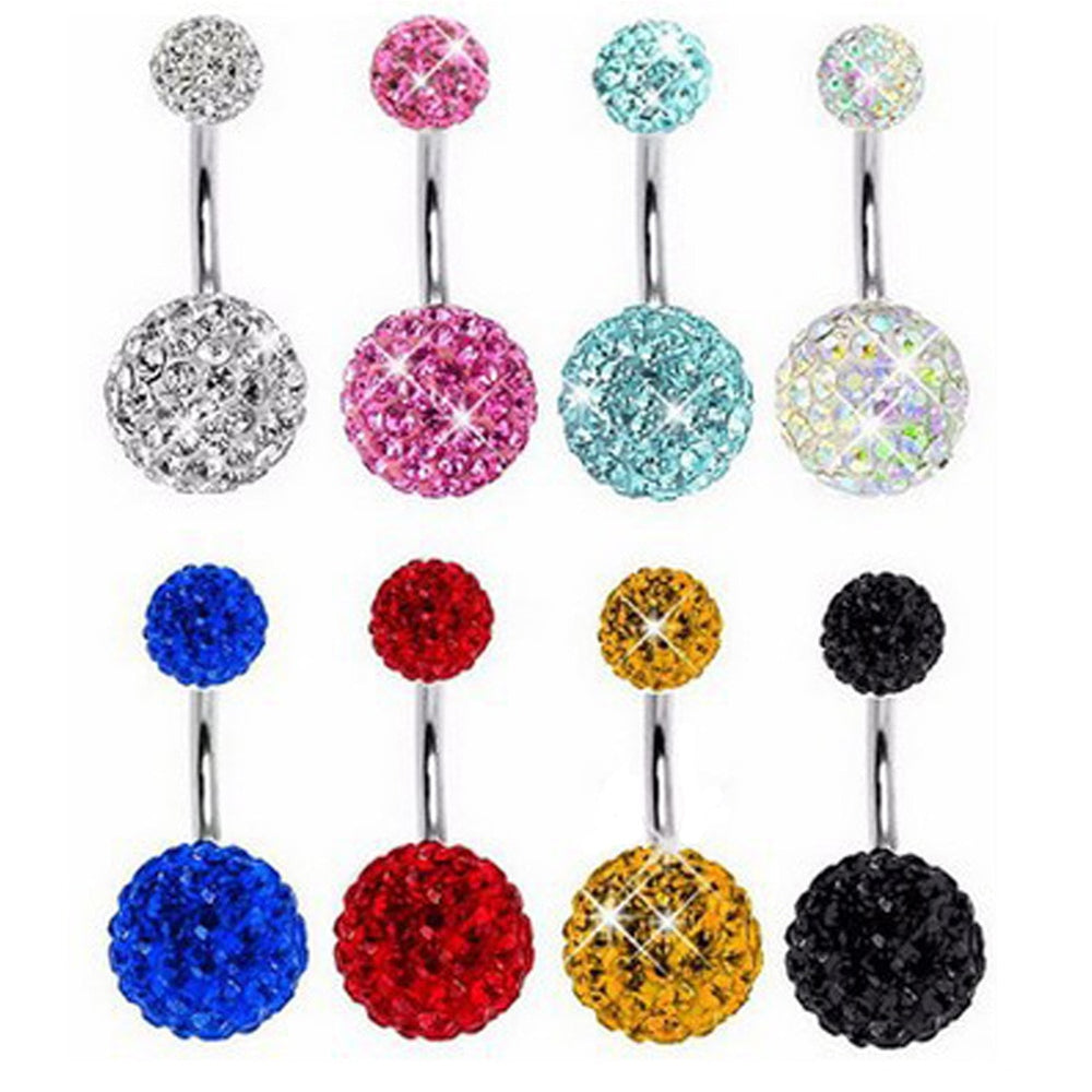 1PC crystal Steel Belly Piercings Navel Piercing Sexy Piercing Ear Piercings Navel Earring Body Jewelry Round Body Ring Jewelry