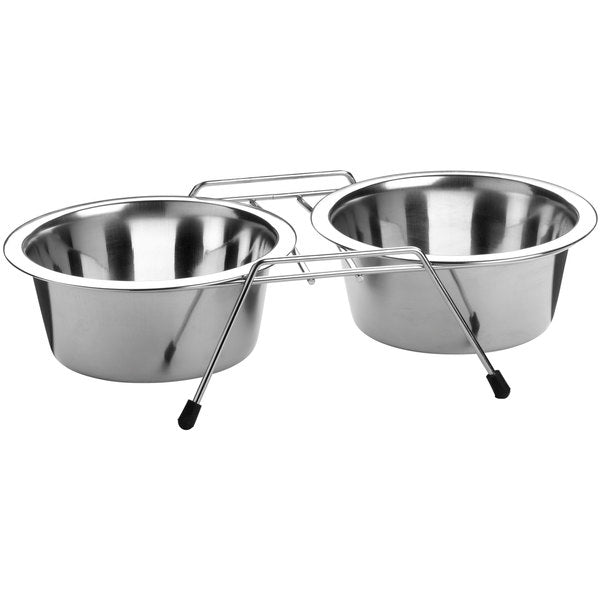 Twin feeding bowl stainless steel