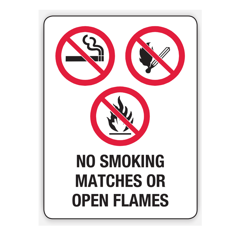 NO SMOKING, MATCHES OR OPEN FLAMES SIGN