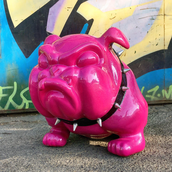 Frederic Avella - Sculpture Bulldog rose paillette