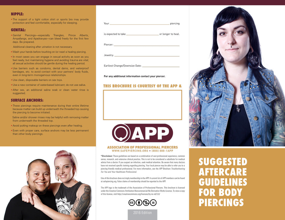 APP Suggested Aftercare Guidelines for Body Piercings