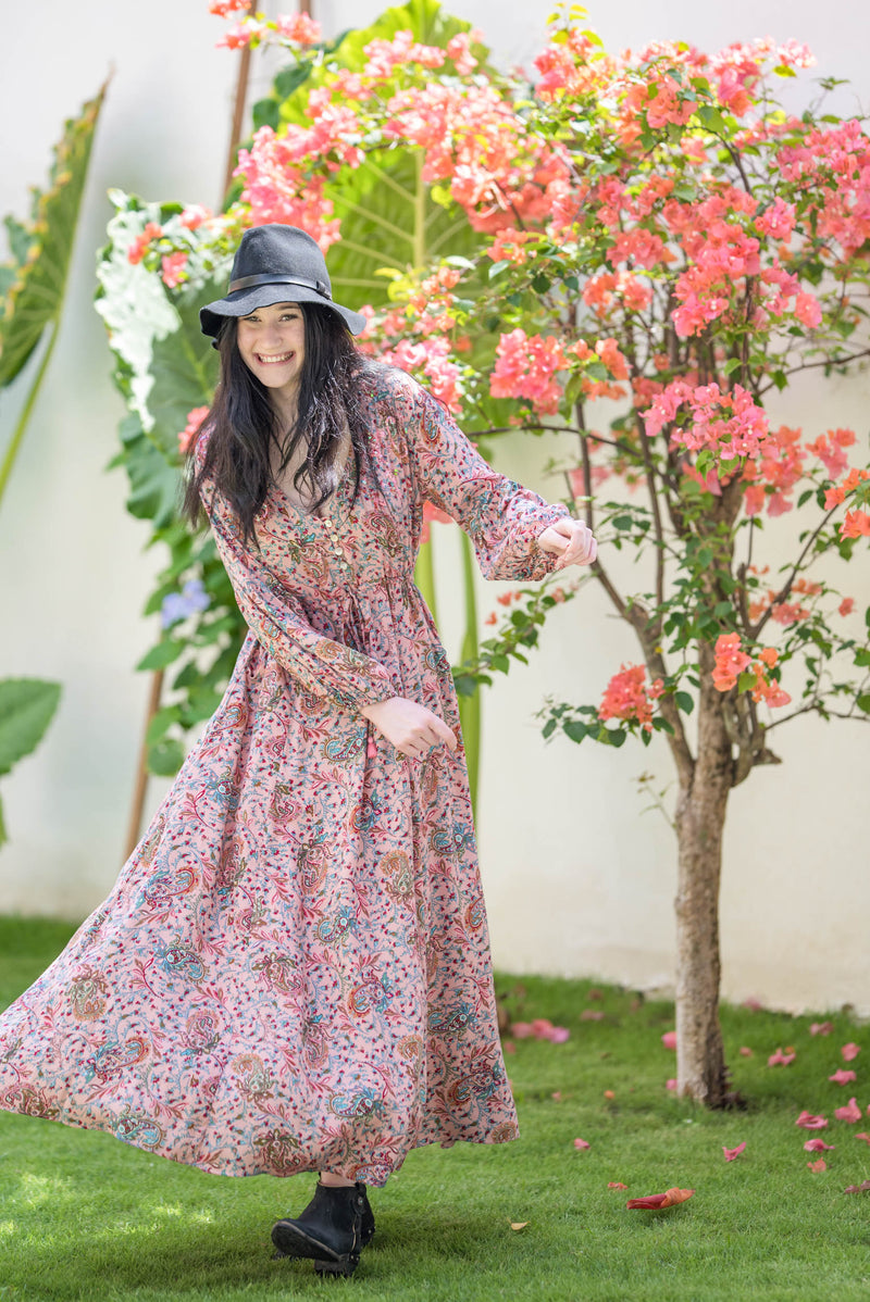 Dress Long Boho Paisley Rosa