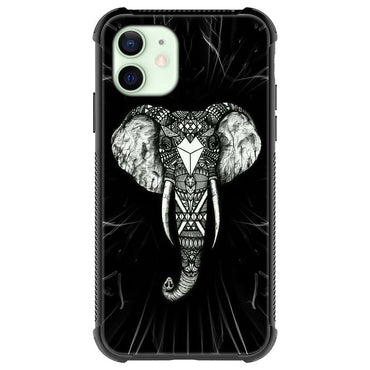 Black Mandala art elephant