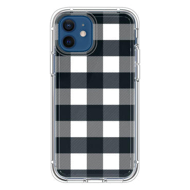 Black and white striped buffalo plaid