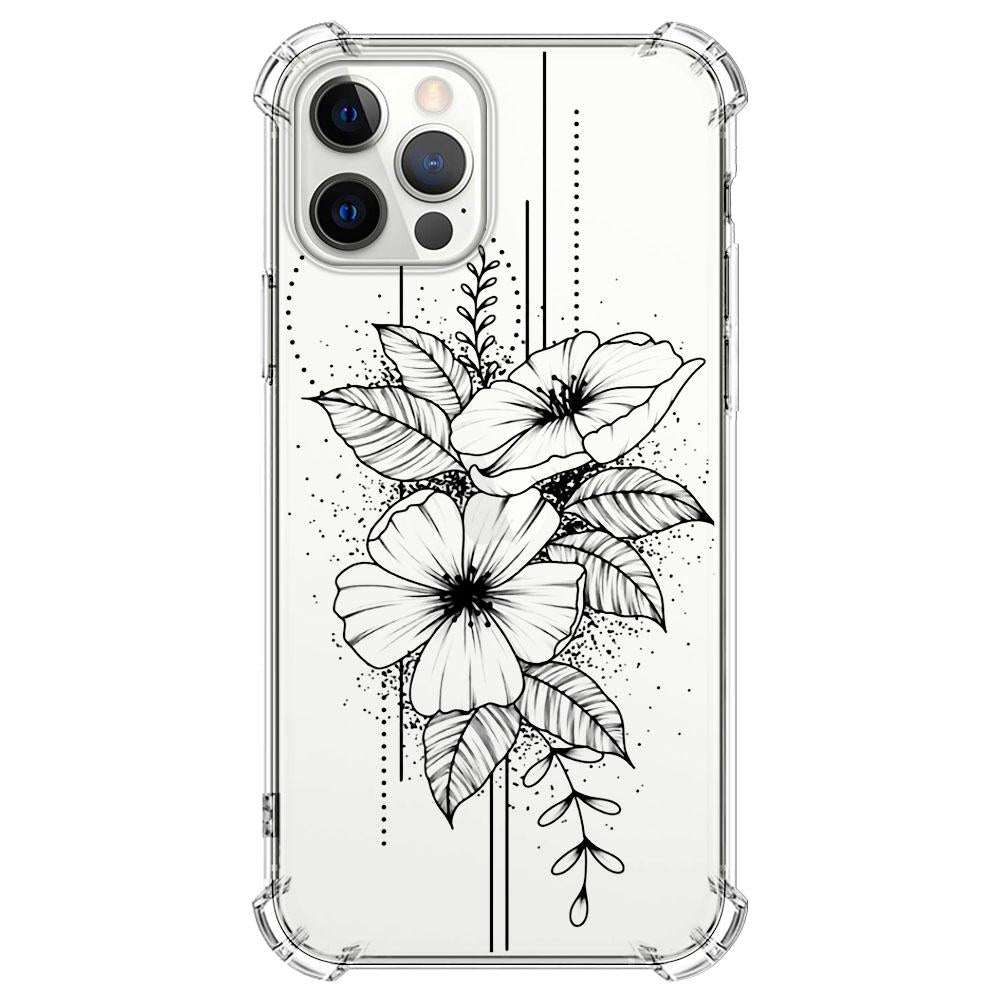 Black transparent flower Paisley pattern