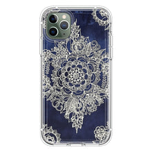 Load image into Gallery viewer, Cream Floral Moroccan Pattern on Deep Indigo Ink