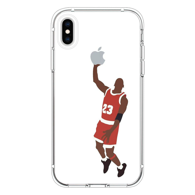 Michael Jordan dunking an Apple