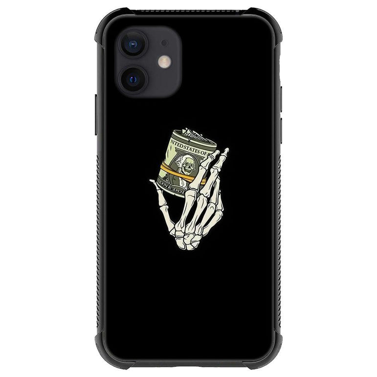 Skull hand holding money