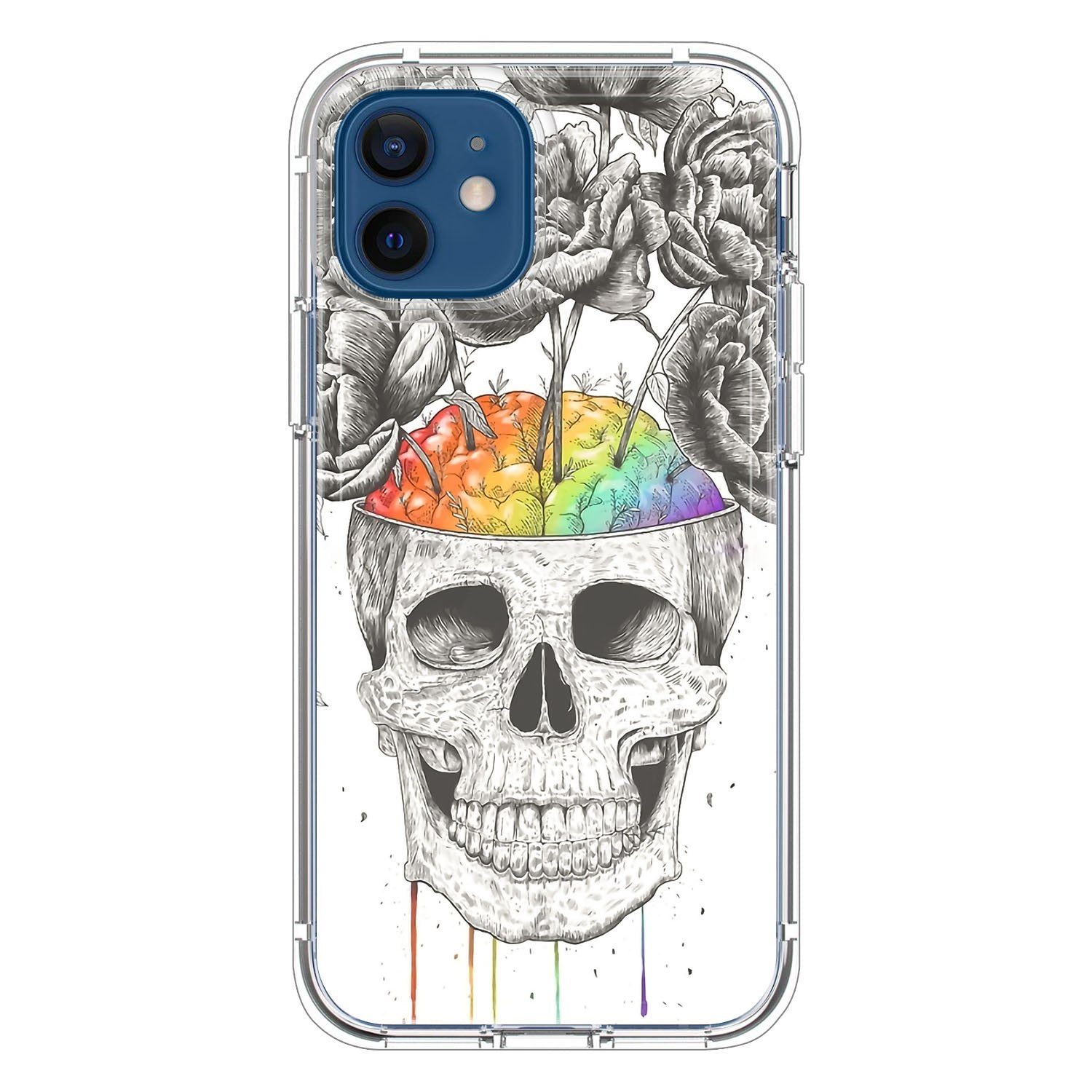 Skull with rainbow brains