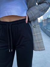 Load image into Gallery viewer, Black High Waisted Wide Leg Joggers