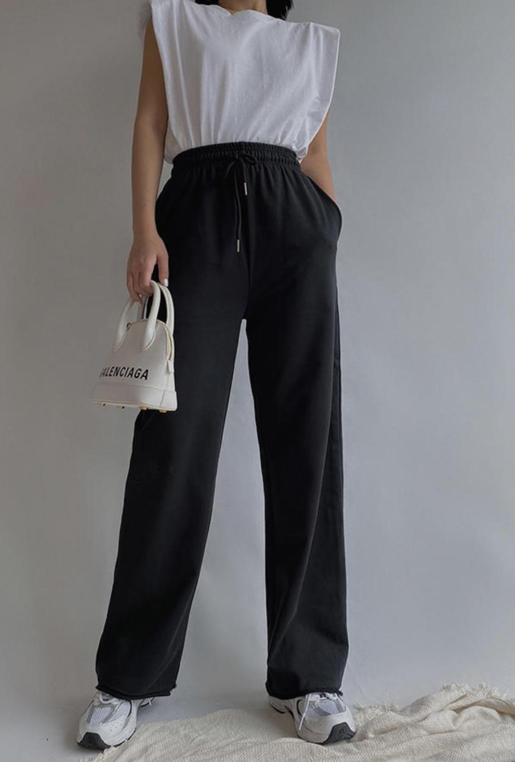 Black High Waisted Wide Leg Joggers