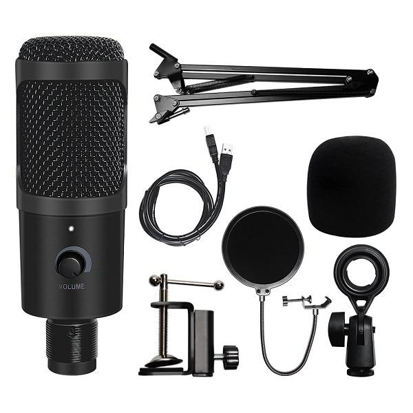 USB Microphone Condenser Recording Microphone with Stand and Ring Light for PC Karaoke Streaming  Voice Podcasting for Youtube