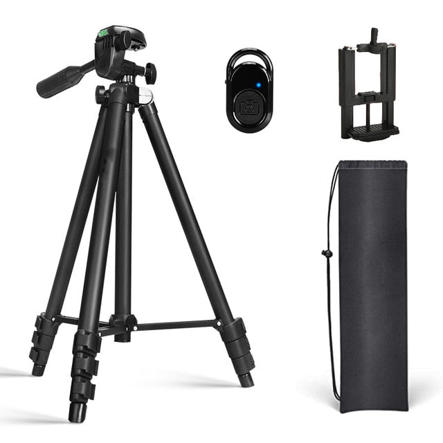 Lightweight Phone Tripod 50-inch/127 cm for Camera with Phone Holder & remote control Gopro, Travel Tripod with Carry Bag