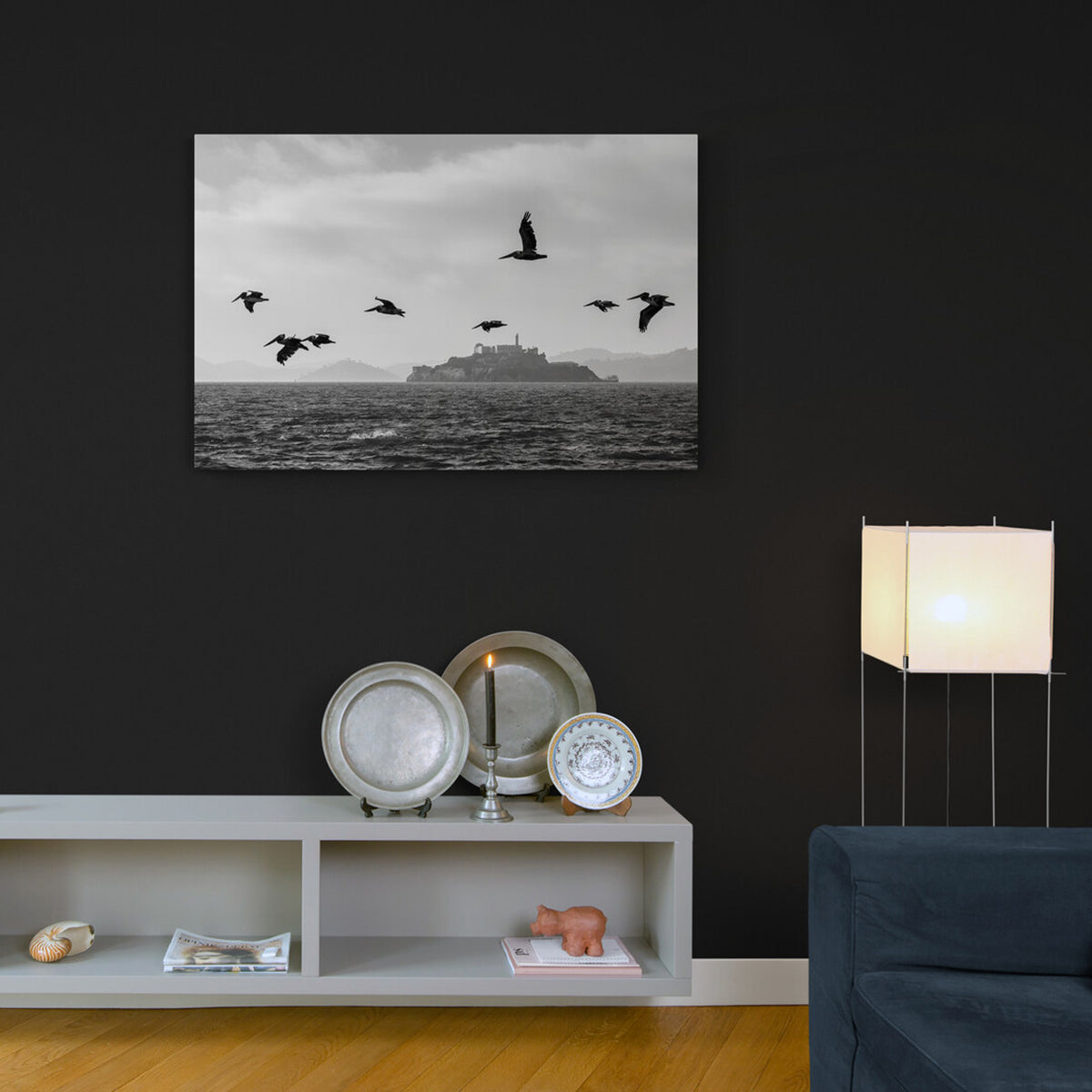 Black and white Photograph on Aluminium of Pelicans flying with Alcatraz in the background and across the water.