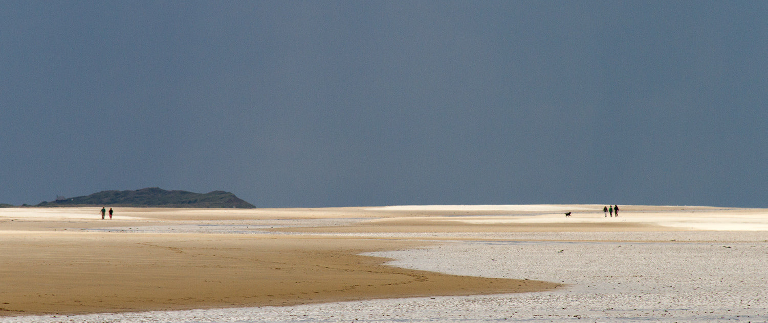 Two families enjoying the vast, unspoilt and almost empty Holkham beach on an August day in Norfolk.