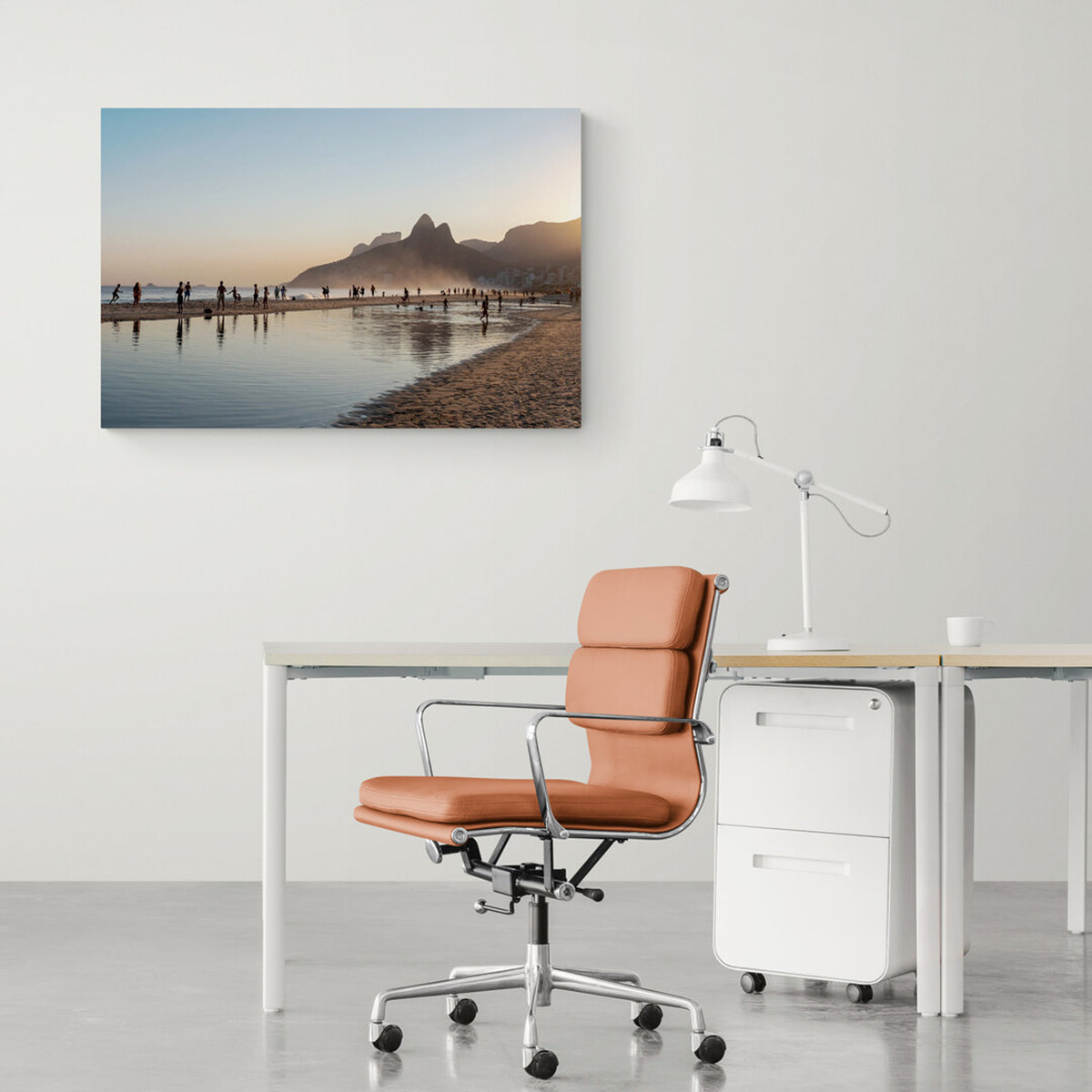 Photograph on Aluminium  of silhouettes of beachgoers at sunset on Ipanema Beach in an office setting