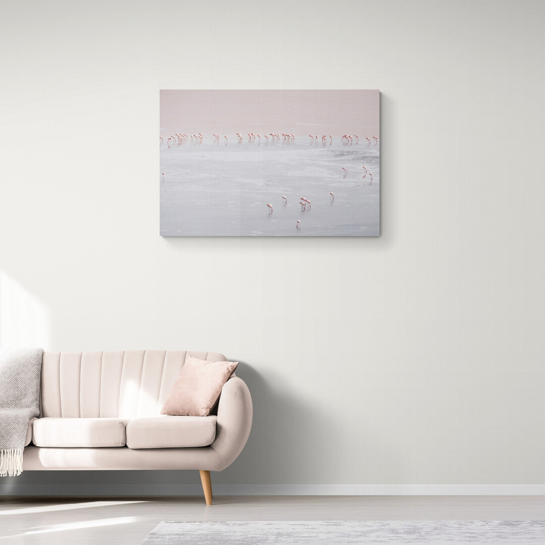 A photograph of Pink Flamingos spread around a lake near the Salt Flats, Bolivia. Mounted on a wall in an office setting.