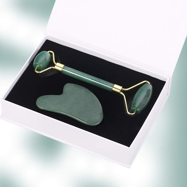 Jade Roller Gua Sha Set, Anti-Aging Facial Massager