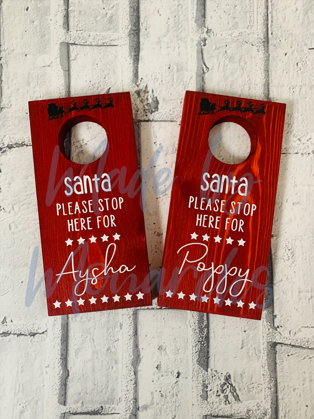 Santa Stop Here - Personalised Door Hanger