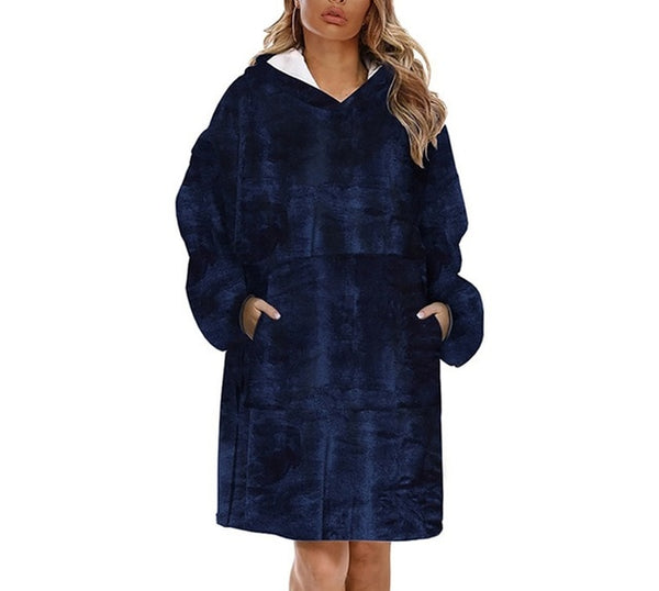 Navy Blue Fleece Blanket Hoodie