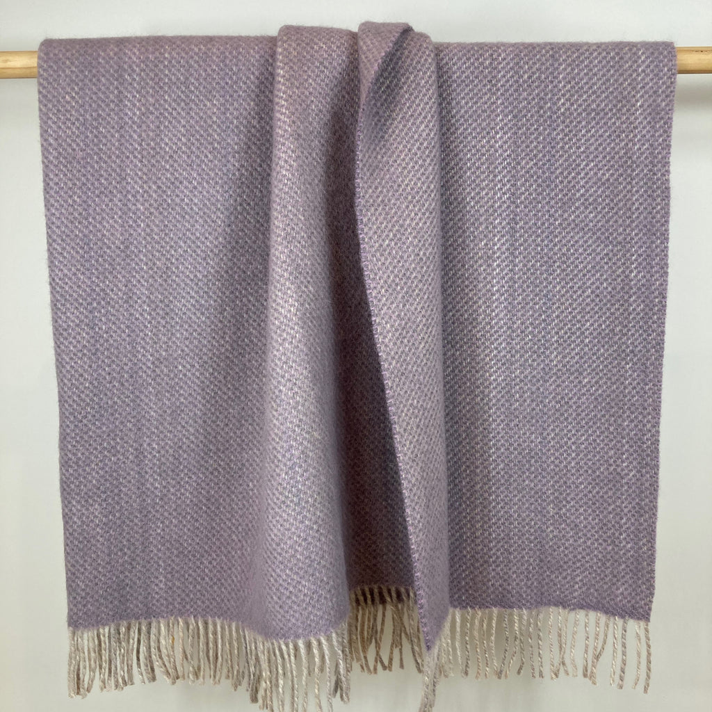 Milnsbridge Blanket - 100% Wool - Lilac/Grey