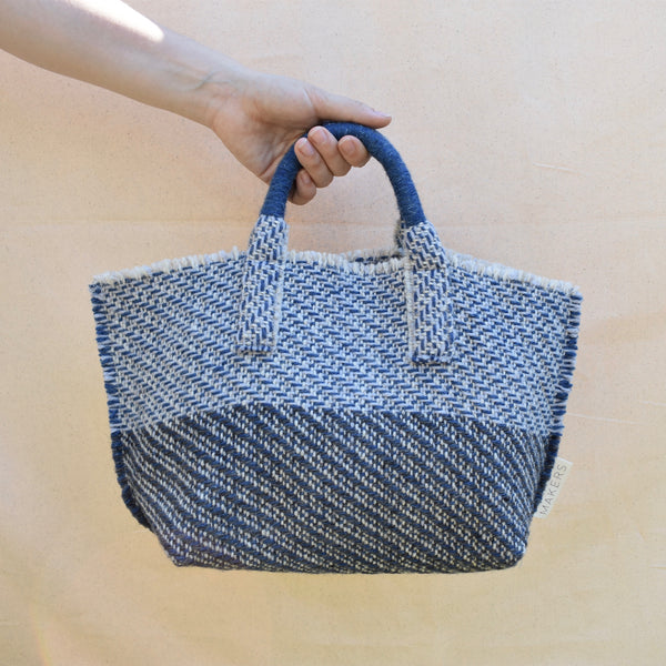 Milnsbridge Alice - Handmade Woollen Bag - Blues & Grey