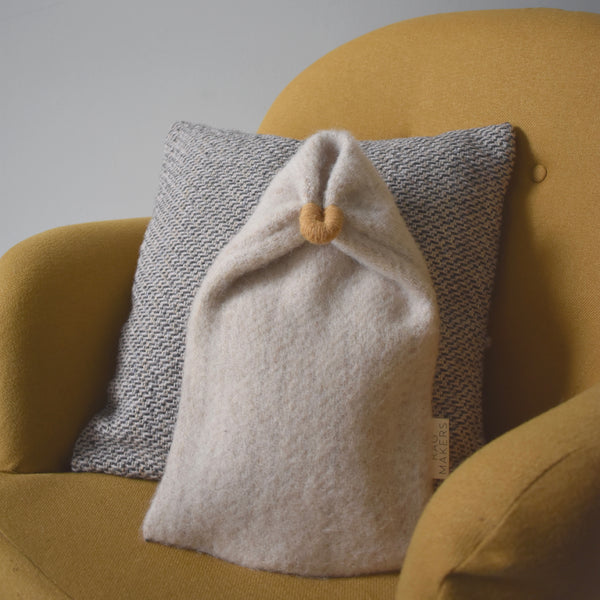 Milnsbridge Hot Water Bottle and cover - 100% Wool - Cream/Yellow