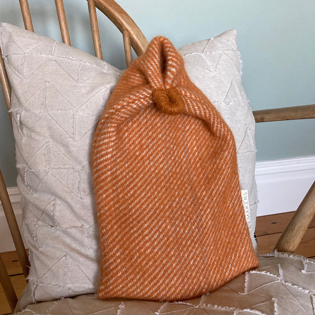 Milnsbridge Hot Water Bottle and cover - 100% Wool - Orange
