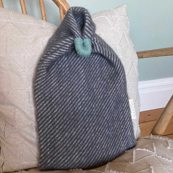 Milnsbridge Hot Water Bottle and cover - 100% Wool - Grey/Teal