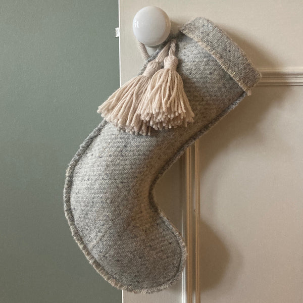 Milnsbridge Handmade Woollen Christmas Stocking - Grey/Cream