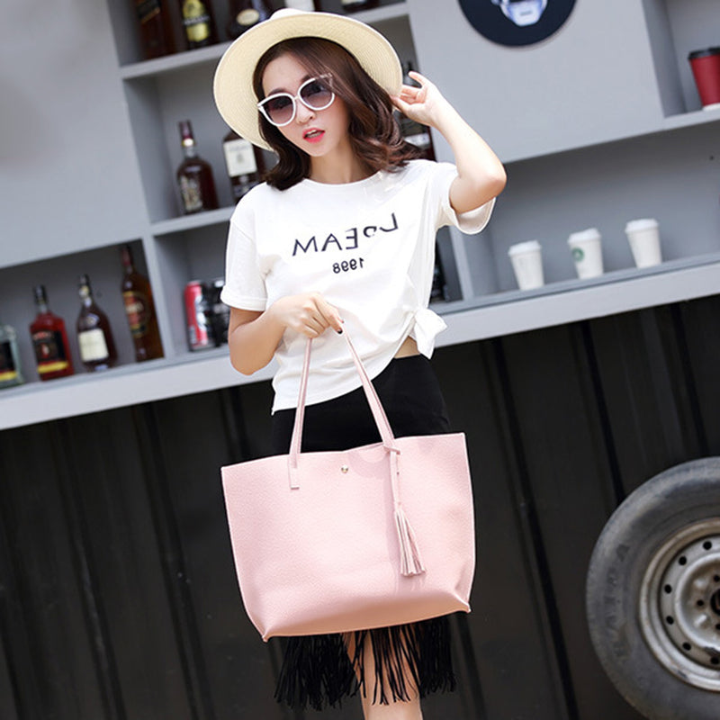 All-Match Korean Style Women's Fashion Large Capacity Tote Shoulder Bag Handbag
