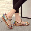 Women Ethnic Lace Up Beading Round Toe Comfortable Flats Colorful Loafers Shoes