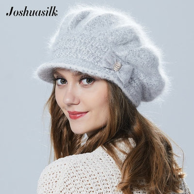 Winter Women Hat With Visor Knitted Fashion Angora Wool Hat Butterfly Decoration Double Warm Hat