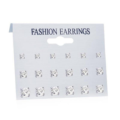 Women's Earrings Set Pearl Earrings For Women Fashion Jewelry Geometric Crystal Heart Stud Earrings - CHIC - U
