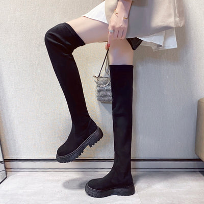 Black flat Over The Knee Women shoes