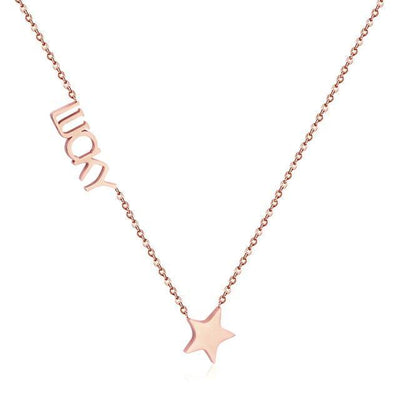 "Fashion Jewelry Rose Gold ""Love"" Pendants Necklaces For Women - CHIC - U"